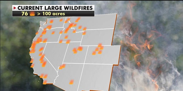 Large wildfires across the Western U.S.