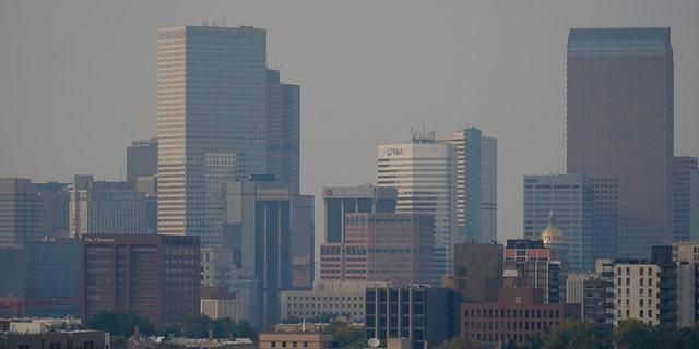 Smoke from several wildfires envelops the Denver skyline on Saturday, Sett. 26, 2020.