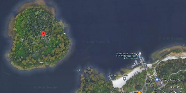 An aerial map view of Disney World's Discovery Island off the coast of Florida, pictured.