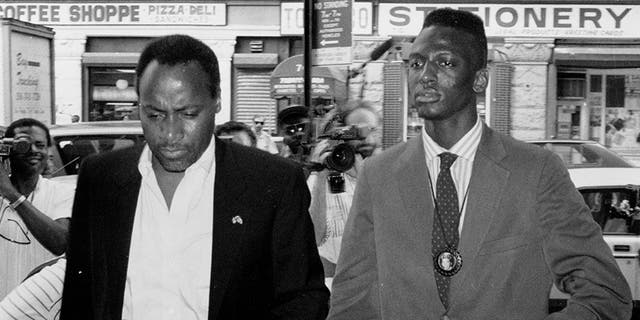 Yusef Salaam (right), accused in New York City Central Park Jogger incident.