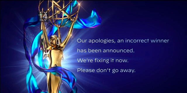 In this video grab issued Saturday, Sept. 19, 2020, by The Television Academy, an apology is issued after the winner of the award for outstanding guest actor in a drama series was incorrectly announced during the 2020 Creative Arts Emmy Awards.