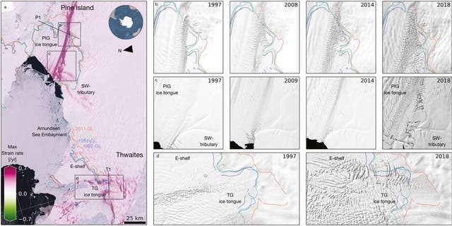 "Damage evolution in Amundsen Sea Embayment. (Photo credit: PNAS research article, ""Damage accelerates ice shelf instability and mass loss in Amundsen Sea Embayment"")"