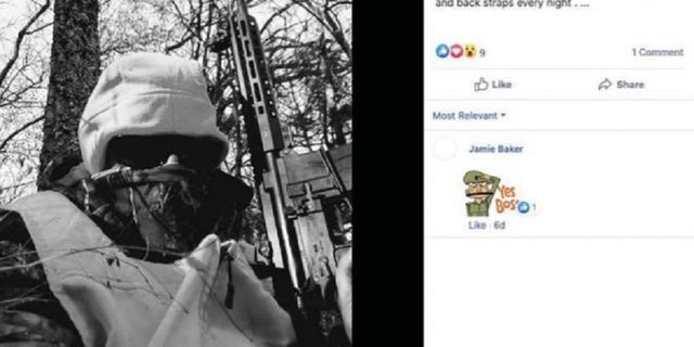 A Facebook screenshot shows Michael Karmo posing with a rifle, according to the Justice Department.  Karmo and Cody Smith were arrested for illegal gun possession.  The couple were driving from Missouri to Kenosha, Wisconsin, and were found Tuesday with guns and ammunition.
