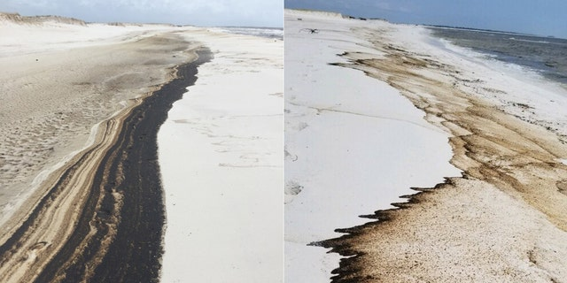 Oil washed up on a 5-mile stretch of Johnson Beach on Perdido Key starting on Saturday, nearly two weeks after Hurricane Sally blasted the area.