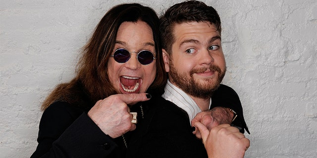(L-R) Ozzy Osbourne and son, producer Jack Osbourne visit the Tribeca Film Festival 2011 portrait studio on April 25, 2011, in New York City.