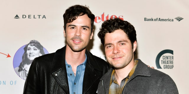 "Blake Lee (L) and Ben Lewis (R) attend the opening of Center Theatre Group's ""Falsettos"" at Ahmanson Theatre on April 17, 2019 in Los Angeles, California."