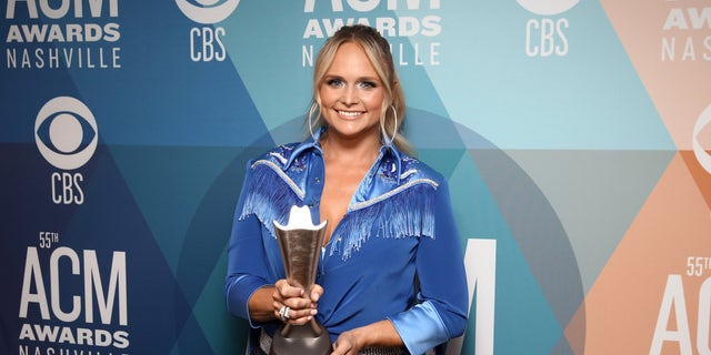 Miranda Lambert poses with the Musical Event of the Year award for 'Fooled Around And Fell In Love' at the 55th Academy of Country Music Awards at the Bluebird Cafe on September 16, 2020, in Nashville, Tenn. (Photo by Terry Wyatt/ACMA2020/Getty Images for ACM)