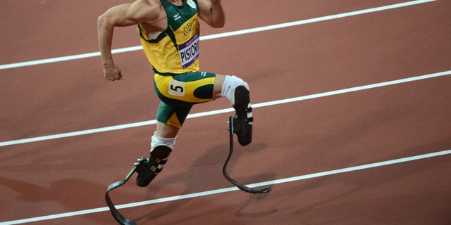 South Africa's Oscar Pistorius competes in the men's 400m semi-finals at the athletics event during the London 2012 Olympic Games on August 5, 2012 in London.