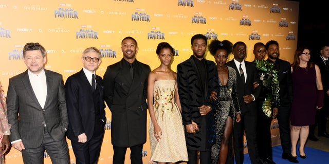 Andy Serkis, Martin Freeman, Michael B. Jordan, Letitia Wright, Chadwick Boseman, Lupita Nyong'o, Daniel Kaluuya, Danai Gurira, director Ryan Coogler and executive producer Victoria Alonso attend the European Premiere of 'Black Panther' at Eventim Apollo on Feb. 8, 2018, in London, England