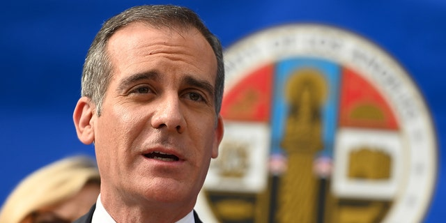 Los Angeles Mayor Eric Garcetti speaks at a Los Angeles County Health Department press conference on the novel coronavirus on March 4, 2020, in Los Angeles, California. (Photo by Robyn Beck / AFP) (Photo by ROBYN BECK/AFP via Getty Images)