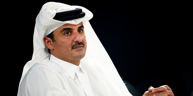DOHA, QATAR - OCTOBER 16: Sheikh Tamim bin Hamad Al Thani, the Emir of Qatar attends the Women's final match between Great Britain and Spain during day five of the ANOC World Beach Games Qatar 2019 at Katara Beach on October 16, 2019 in Doha, Qatar. (Photo by Quality Sport Images/Getty Images)
