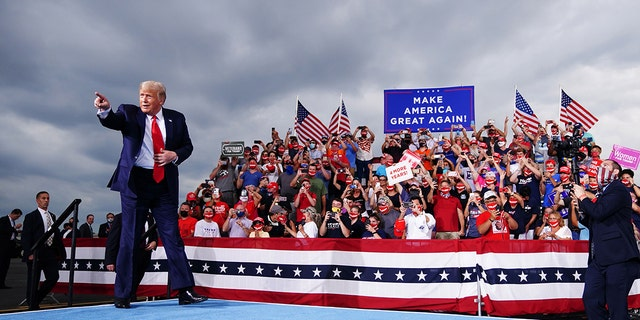 The Hill originallyused this image in a tweet claiming Trump supporters didn't wear masks during a Winston-Salem, N.C. rally. (Photo by MANDEL NGAN/AFP via Getty Images)