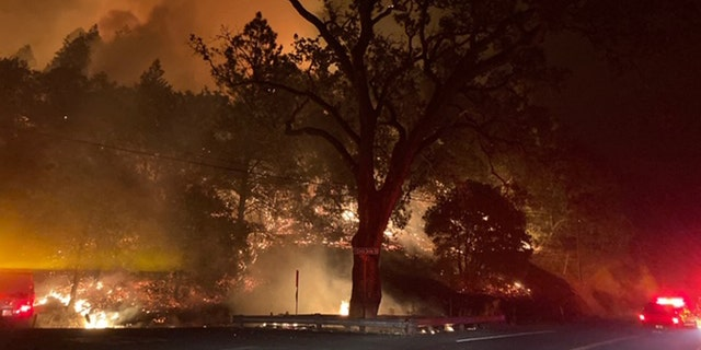 The Glass Fire burning near St. Helena in Napa County, California spurred mandatory evacuations and has burned at least 50 英亩.
