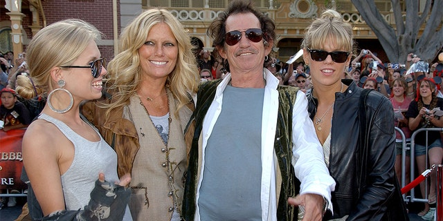 Keith Richards with wife Patti Hansen and daughters Alexandra Richards and Theodora Richards.