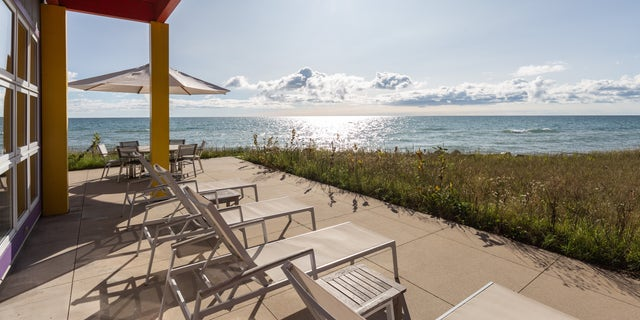 The property boasts lake-front views of Lake Michigan.