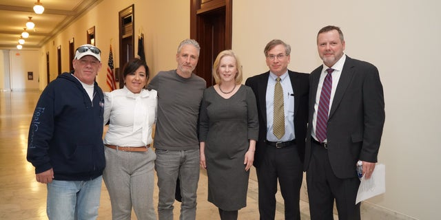 Feal and Stewart recently have partnered with veterans advocate Rosie Torres (second from left) to lobby for a new bill sponsored by Sen. Kirsten Gillibrand (center) that would list burn pit exposure a presumptive condition for veterans who served in Iraq and Afghanistan.