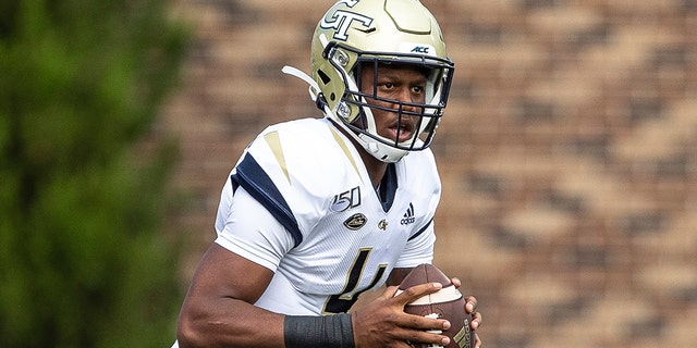 In this Oct. 12, 2019, file photo, Georgia Tech's James Graham looks to pass during an NCAA college football game against Duke, in Durham, N.C. Georgia Tech hosts Central Florida on Saturday, Sept. 19, 2020. (AP Photo/Ben McKeown, File)
