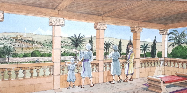 Artist's impression of the royal estate that stood in Armon Hanatziv, Jerusalem.