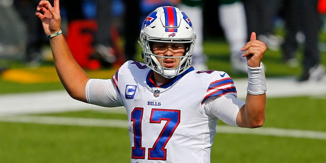 Buffalo Bills quarterback Josh Allen (17) calls a play during the second half of an NFL football game against the New York Jets in Orchard Park, N.Y., Sunday, Sept. 13, 2020. (AP Photo/Jeffrey T. Barnes)