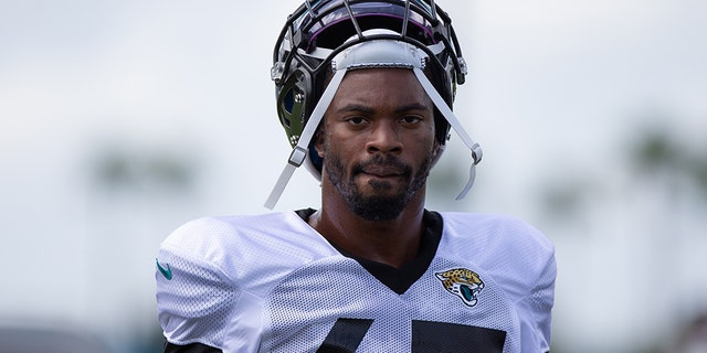 Jacksonville Jaguars defensive lineman K'Lavon Chaisson (45) during training camp on Aug. 27, 2020, at the DreamFinders Homes Practice Complex in Jacksonville, Fla. (David Rosenblum/Icon Sportswire via Getty Images)