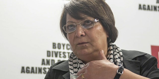 Leila Khaled, a Popular Front for the Liberation of Palestine (PFLP) member, delivers a speech during the press conference of Boycott, Divestment and Sanctions (BDS) movement in South Africa's capital Johannesburg on February 6, 2015. (Photo by Ihsaan Haffejee/Anadolu Agency/Getty Images, File)