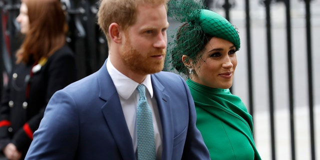 Britain's Harry and Meghan the Duke and Duchess of Sussex arrive to attend the annual Commonwealth Day service at Westminster Abbey in London.