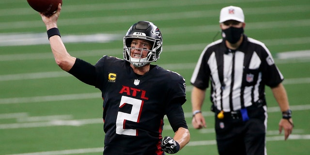 Atlanta Falcons quarterback Matt Ryan (2) throws a pass in the second half of an NFL football game against the Dallas Cowboys in Arlington, Texas, Sunday, Sept. 20, 2020. (AP Photo/Ron Jenkins)