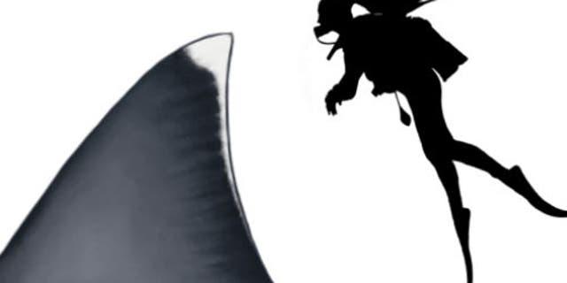 Comparaison de la nageoire dorsale d'un mégalodon adulte à un plongeur de 1,6 m (5,2 pieds)