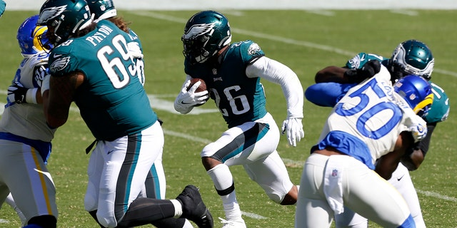 Philadelphia Eagles' Miles Sanders runs for a touchdown during the first half of an NFL football game against the Los Angeles Rams, Sunday, Sept. 20, 2020, in Philadelphia. (AP Photo/Laurence Kesterson)