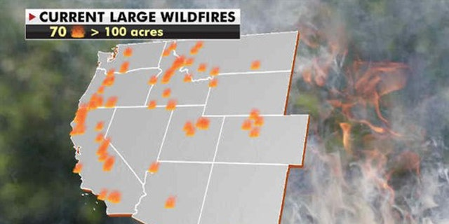 A look at the number of wildfires currently burning across the West Coast as of Sept. 28, 2020.