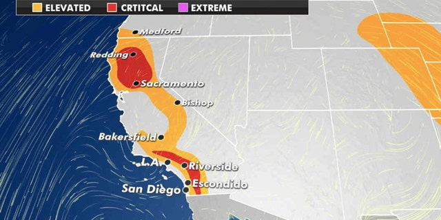 Dangerous fire weather conditions stretch through California on Monday, 씨족. 28, 2020.