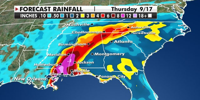 Rainfall forecast from Sally, which is forecast to bring impacts throughout the Gulf Coast and Southeast.