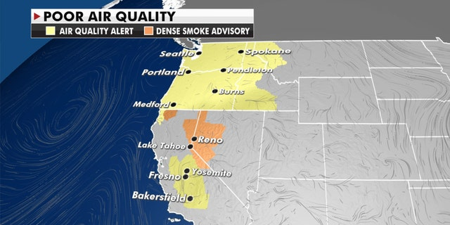 Poor air quality lingers along the West Coast due to ongoing wildfires.