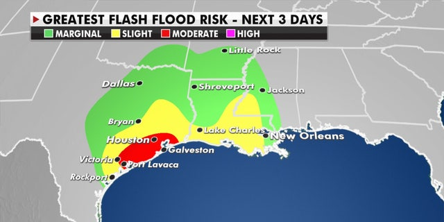 The greatest flash flood risks over the next three days from Tropical Storm Beta.