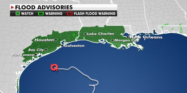 Posted flood advisories as Tropical Storm Beta nears the central Texas coast.