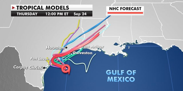 Forecast models showing where Tropical Storm Beta will head next.