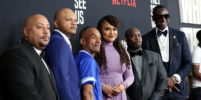 From left are Raymond Santana Jr., Kevin Richardson, Korey Wise, Ava DuVernay, Antron Mccray, and Yusef Salaam, as they attend the World Premiere of Netflix's 'When They See Us' at the Apollo Theater in New York City, May 20, 2019. (Getty Images)
