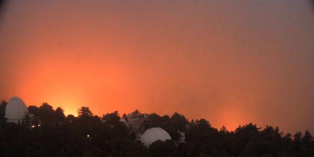 Flames can be seen approaching the Mt. Wilson Observatory as the Bobcat Fire approached the historic site on Sept. 15, 2020.