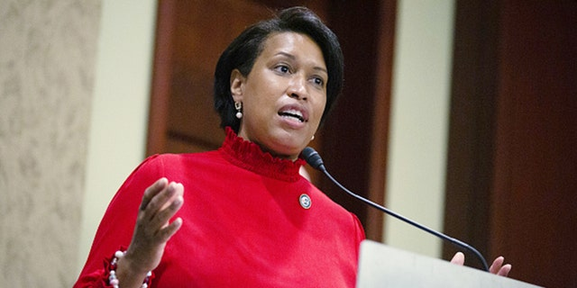 Muriel Bowser, mayor of Washington, D.C., speaks during a news conference ahead of a District of Columbia statehood bill vote on Capitol Hill on Thursday, June 25, 2020. (Stefani Reynolds/Bloomberg via Getty Images)