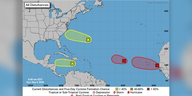 Four areas of possible tropical development are being monitored by the National Hurricane Center.
