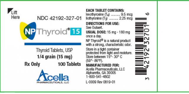 """Acella Pharmaceuticals is recalling two lots of NP Thyroid, which """"may have as low as 87% of the labeled amount of levothyroxine,"""" or less than the required amount. (Photo courtesy of the FDA)"""