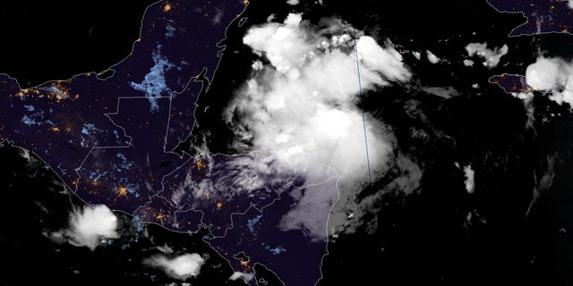Tropical Storm Nana is seen over the Caribbean on Sept. 2, 2020.