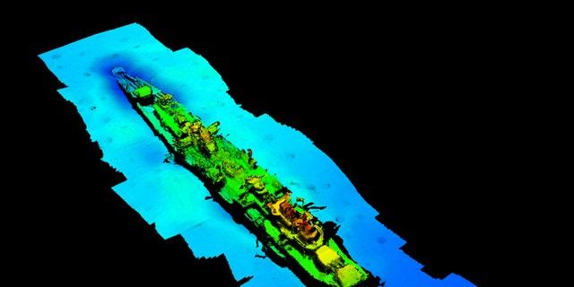 A multibeam echosounder made a sonar scan of the wreck.