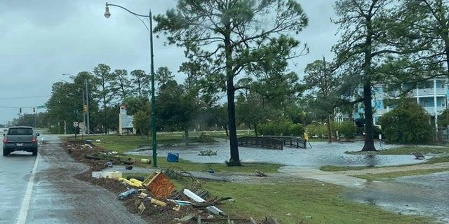 Damage in Orange Beach, Ala. can be seen after Hurricane Sally on Wednesday, Sept. 16, 2020.