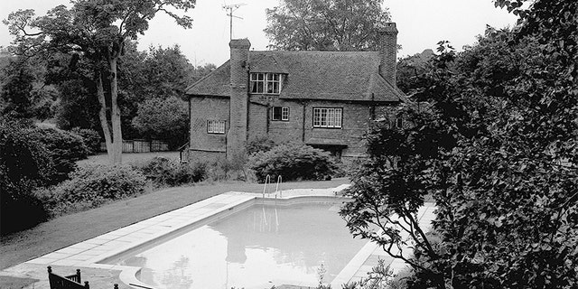 The swimming pool at Cotchford Farm, near Hartfield, Sussex, where Brian Jones, 27-year-old former lead guitarist of the Rolling Stones pop group, died after a midnight swim.