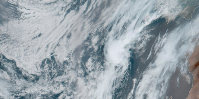 Post-tropical cyclone Paulette can be seen in satellite imagery on Sept. 23, 2020.