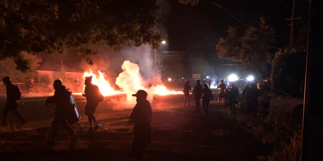 Flames rise from a street after a liquid had been spread and lit, Saturday, Sept. 5, 2020, during protests in Portland, Ore. Some protesters, at, left, move back as police, at background right, advance. (Associated Press)