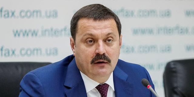 Ukrainian lawmaker Andriy Derkach attends a news conference in Kiev, Ukraine, Oct. 9, 2019. (REUTERS/Gleb Garanich)