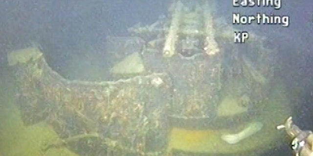 An element of sunken German WWII warship cruiser