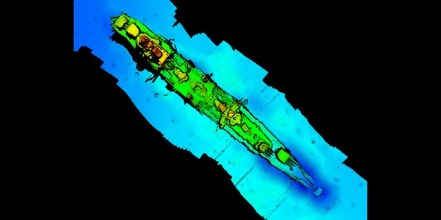 A sonar scan of sunken German WWII warship cruiser